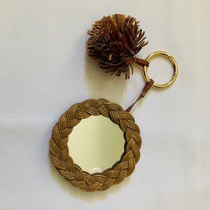 Ulla Johnson Ami Mirror Tan Pocket Mirror Keychain